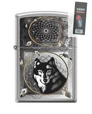 Zippo 0415 Wolf & Indian Dream Catcher Brushed Chrome Lighter + Flint Pack