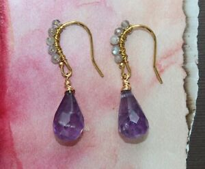 Amethyst Labradorite Wire Wrapped Earwires Gold Handcrafted Earrings