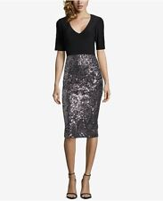 a6be0bb279a Betsy   Adam Womens Black Sequined Short-sleeve Midi Cocktail Dress Size 12