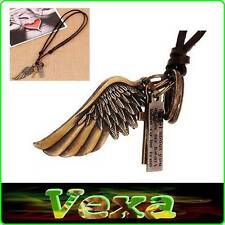 SURFER Necklace with Pendant copper Angel wing Cross Genuine Leather Thong NK08