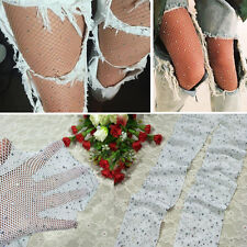 Women's White Fishnet Mini Diamond Net Stockings Rhinestone Full Tight Pantyhose