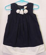 GYMBOREE Girls 18-24 Months PRETTY Navy Gathered Cotton Flower Trim DRESS 18/24M