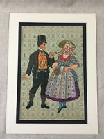 Art Deco Print Dutch Costume Walcheren Island Holland RARE Colour Lithograph