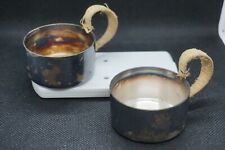 2 Antique Art Deco Silver-plated Glass Coffee / Tea Cups Coasters Bamboo Handles
