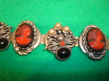 Vtg Selro Red/Bl ST Carved Woman Cameo Lucite Earrings Necklace Bracelet PARURE