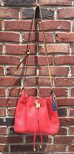 COACH Legacy Pebbled Leather Drawstring Crossbody Bag Coral Orange Navy RARE*