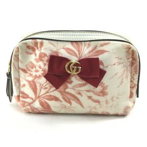 GUCCI 442690 Logo Floral pattern Japan limited ribbon Case Cosmetics Pouch