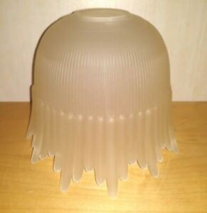 """Antique Style Frosted Glass Light Lamp Shade Art Deco Nouveau 5.5""""t 2"""" Fitter"""