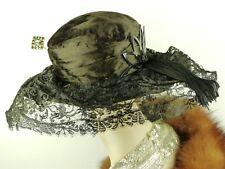 Cappello VINTAGE 1910 S francese belle époque Periodo edoardiano, Maria Ragazzo, Cappello in Pizzo TITANIC