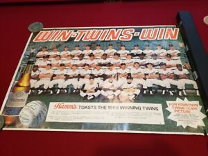 VERY RARE 1969 Minnesota Twins WIN TWINS WIN Hamm's Beer Poster, LOOK!!