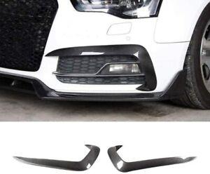 2x Carbon Fiber Fog Lamp Splitter Flaps Canards Fins For Audi A5 Sline S5 12-16