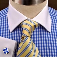 Clearance Unique Blue Contrast Check Business Shirt Easy Iron Boss Mens Formal