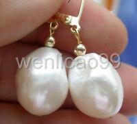 16mm white baroque white freshwater pearl dangle earring