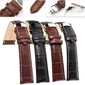 Universal Genuine Leather Wrist Watch Band Strap Butterfly Clasp Buckle 18~24 mm