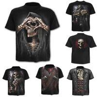 Men's T-Shirt Summer 3D Basic Top Short Sleeve Skull Print Casual Funny Punk Tee