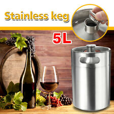 5L 170oz Stainless Steel Mini Keg For Home Growler Beer Brewing Making Silver US