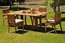 Dsgv Grade-A Teak 5 pc Dining 69 Console Rectangle Table Chair Set Outdoor Patio