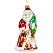 SIKORA BS440 Adorno de Árbol de Navidad Decoración de Vidrio - Papá Noel Brillo
