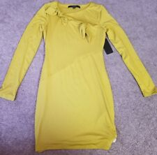 Guess Womens Adelia Knotted Long Sleeve dress, Mustard yellow, XS