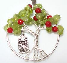 Tree of Life Necklace Pendant Peridot Apple Birthstone Silver Owl Handmade USA