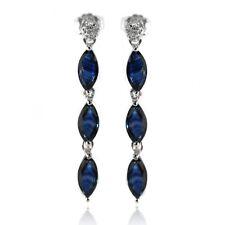 De Buman Sterling Silver 2.95ctw Blue Sapphire & White Diamond Earrings for Gift