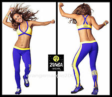ZUMBA 2Pc.SET!! Cosmic Blast Long LEGGINGS + Criss-Cross Bra Top RARE EliteZWEAR