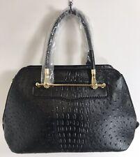 Black Ostrich Faux Leather Tote Bag Shoulder Bag Large Size Gold Hardware NEW