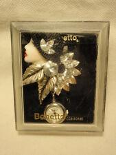Watch Brooch Rhinestone Silver *As-Is* Bonetto Flapper Girl Lady Face