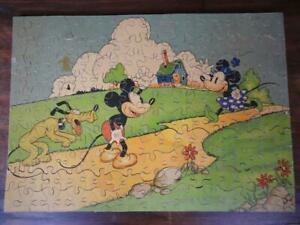 CHAD VALLEY 1930 RARE WALT DISNEY MICKEY MOUSE LTD 200pc WOODEN JIGSAW PUZZLE