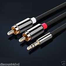 3 Meter 3.5mm Stereo Jack to 2x RCA Plugs Male to Male Aux Audio Cable Adpater