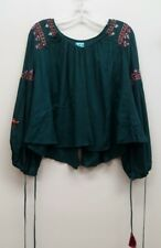KAS NY Size S Teal Blue Embroidered Peasant Top