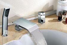 New Modern Waterfall Roman Tub Filler with Hand Shower Bathroom Bathtub Faucet