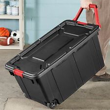 2 Pack Plastic Tote Storage Container Large Organizer Box w/Lids Bin Set 160qt