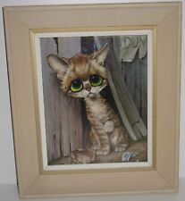 Vintage Sad Cat Framed Picture Print Big Eyes Kitten Fence Art Artwork Decor DUN