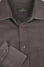 Bugatchi Uomo Uomo Profonda Color Prugna Geometrico Camicia di Cotone Casual XL