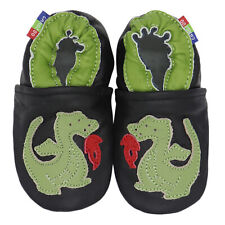 carozoo fire dragon black 2-3y  soft sole leather toddler shoes new