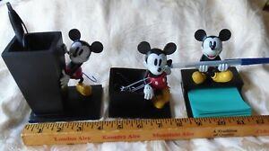 Disney Mickey Mouse Figural Desk Set Pencil Holder 3 Piece Pencil Note Paper