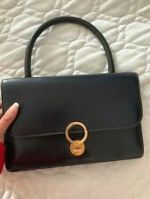 HERMES Vintage SAC RING Hand Bag Purse Navy Blue Box Calf Authentic
