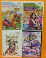 Nintendo Wii Wii U Games LOT iCarly Cheer Squad Barbie Horse Advn Disney Tangled