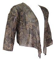 Ladies Brown Gold Mesh Bolero Shrug Top Crop Cardi Jacket Ladies New *LICK*