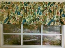 Colorful Floral peacock on tan Valance