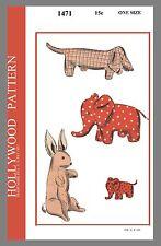 Vint Hollywood Pattern Stuffed Animal  Dog Elephant Rabbit Sew Pattern # 1471