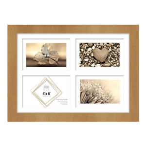 """4"""" x 6"""" Mutli Aperture Photo Frame Holds 4 Photos Glass Front - Brown"""