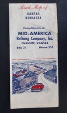 1959 Kansas Nebraska road map  Mid-America Refining Co. Chanute KS  oil  gas