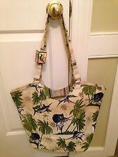 NWT - Guy Harvey Blue Marlin Palm Fresco Canvas Large Handbag/Tote