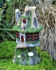 Solar Powered Secret Fairy Garden Ornament Tree Log House colour BOXED