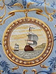 """LEE JOFA Fabric """"I Galeoni"""" Italy Cotton Blue Ground Classic Nautical 11yds 12"""""""