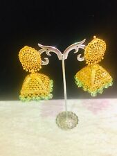 Indian Gold Plated Jumka Jumki With Light Green  Beads Earrings Bollywood Style