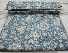 Quilt Kantha Königin Bettdecke Hand Block Print Tagesdecke Baumwolle indische