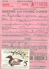 1975 USA Duck Stamp #RW42 + Upland Washington Hunting & Fishing License